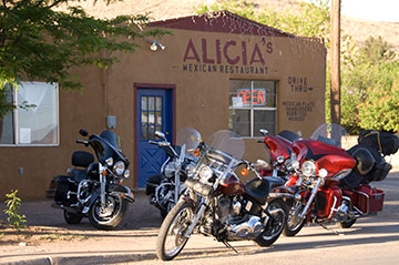 Bikes outside Alicia's Mexican Restaurant.