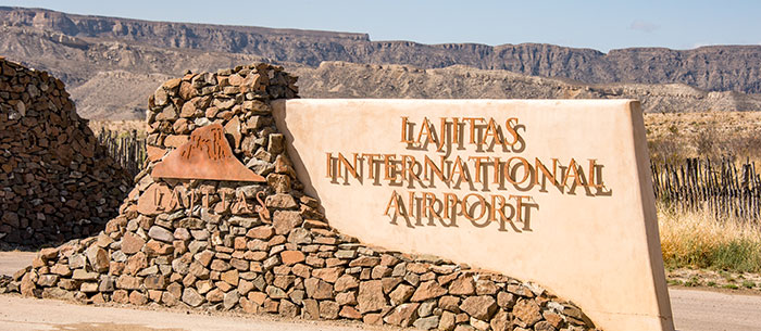 Sign for Lajitas International Airport.