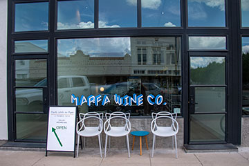 Front view of the Marfa Wine Company.