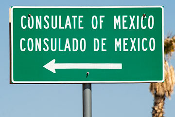 Sign for Consulate of Mexico.