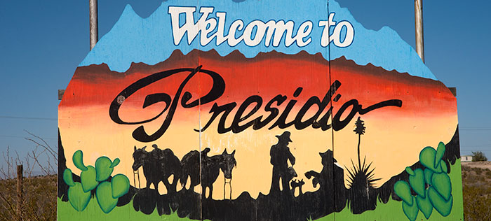 Welcome to Presidio sign.