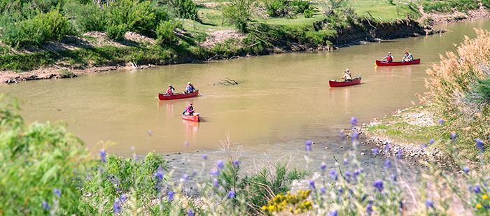 Canoes on the Rio Grande.