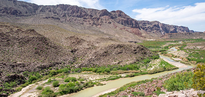 The Rio Grande and Mexican mountains.