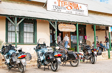Bikers visit the Terlingua Ghost Town.